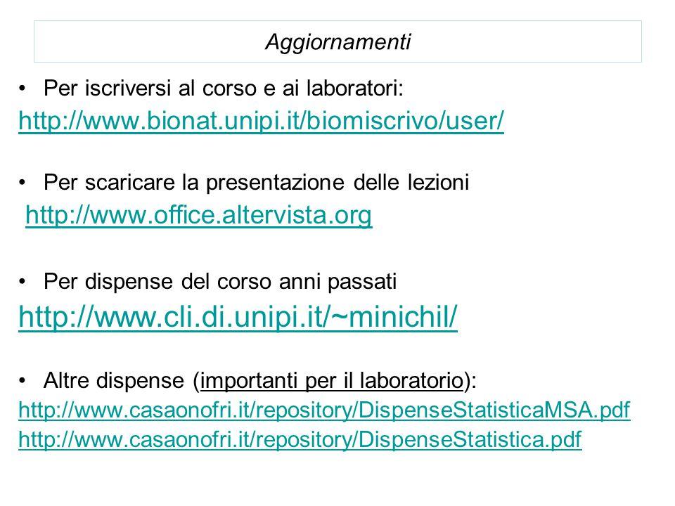 Aggiornamenti Per iscriversi al corso e ai laboratori: http://www.bionat.unipi.it/biomiscrivo/user/