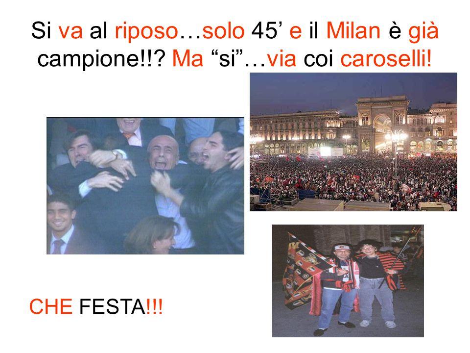Si va al riposo…solo 45' e il Milan è già campione
