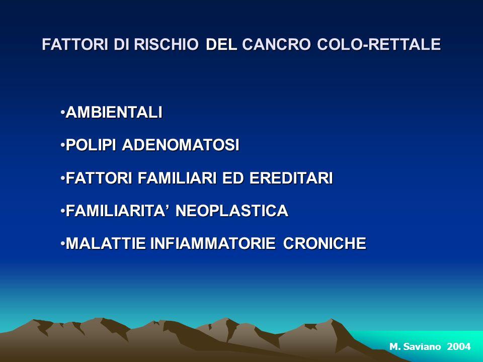 FATTORI DI RISCHIO DEL CANCRO COLO-RETTALE