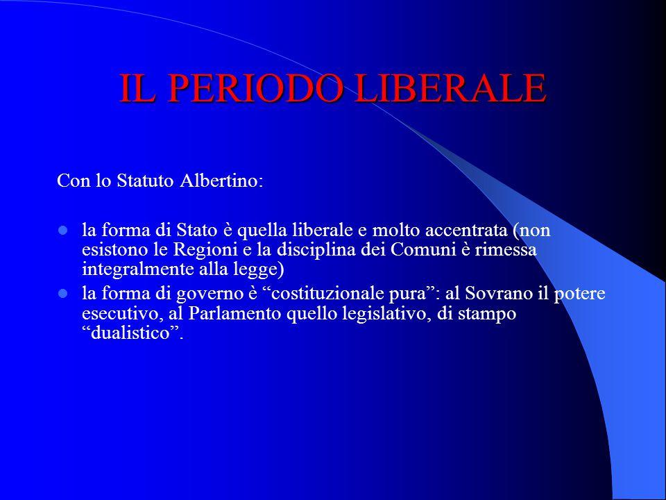 IL PERIODO LIBERALE Con lo Statuto Albertino: