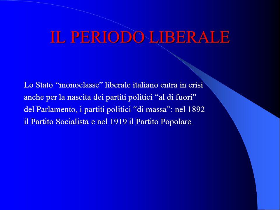 IL PERIODO LIBERALE Lo Stato monoclasse liberale italiano entra in crisi. anche per la nascita dei partiti politici al di fuori