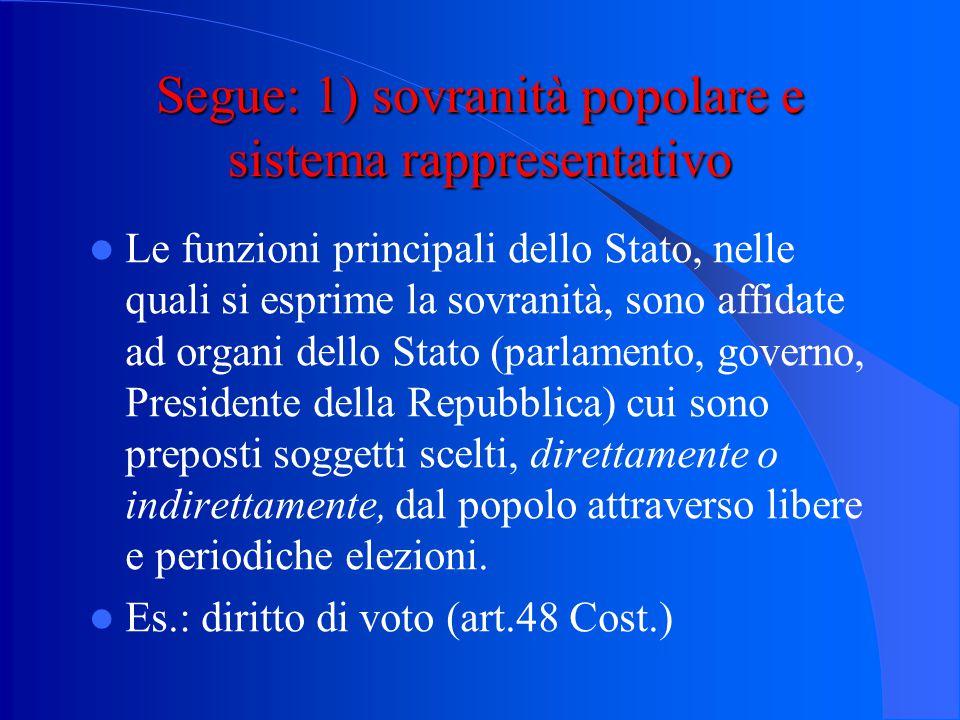 Segue: 1) sovranità popolare e sistema rappresentativo