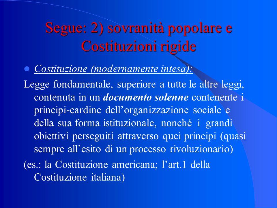 Segue: 2) sovranità popolare e Costituzioni rigide