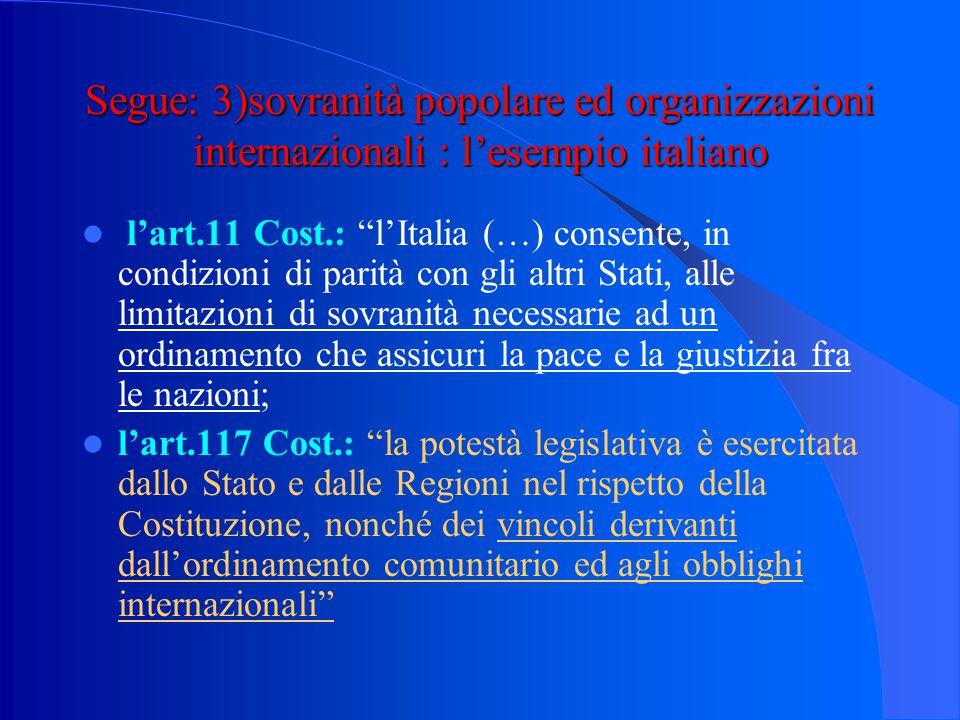 Segue: 3)sovranità popolare ed organizzazioni internazionali : l'esempio italiano
