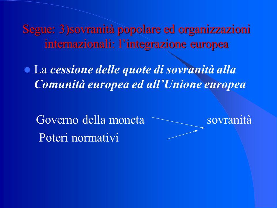 Segue: 3)sovranità popolare ed organizzazioni internazionali: l'integrazione europea