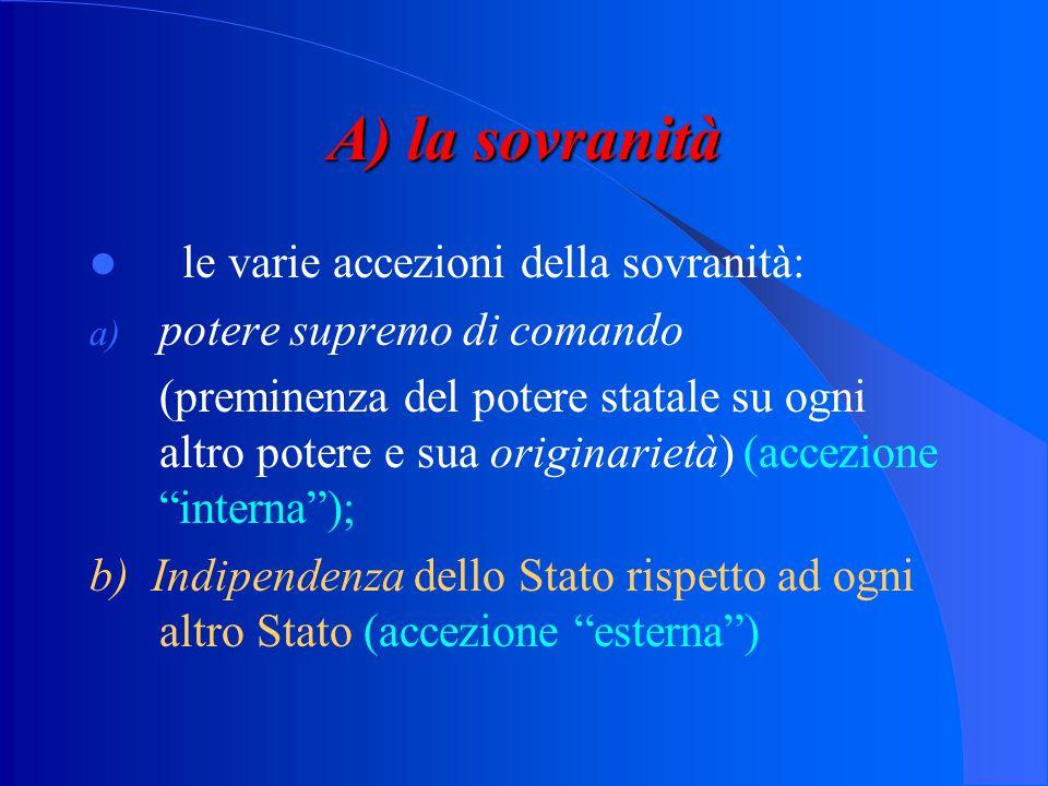 A) la sovranità le varie accezioni della sovranità:
