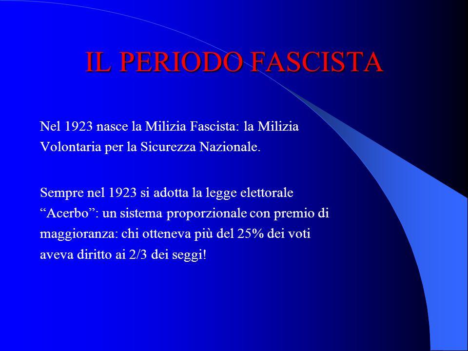 IL PERIODO FASCISTA Nel 1923 nasce la Milizia Fascista: la Milizia