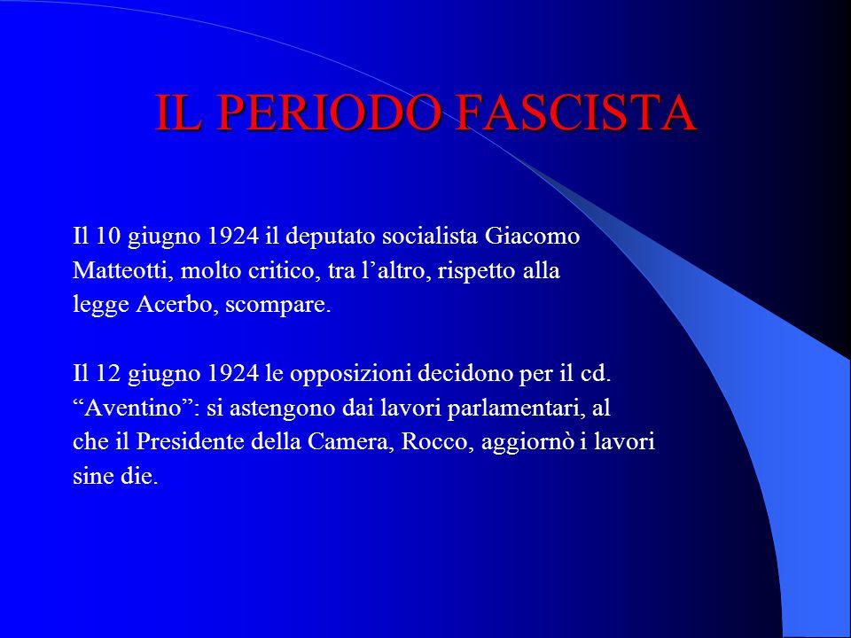 IL PERIODO FASCISTA Il 10 giugno 1924 il deputato socialista Giacomo