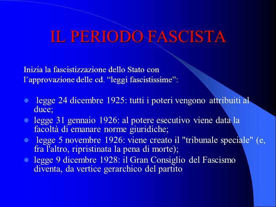 IL PERIODO FASCISTA Inizia la fascistizzazione dello Stato con. l'approvazione delle cd. leggi fascistissime :