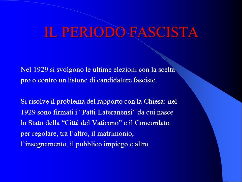 IL PERIODO FASCISTA Nel 1929 si svolgono le ultime elezioni con la scelta. pro o contro un listone di candidature fasciste.