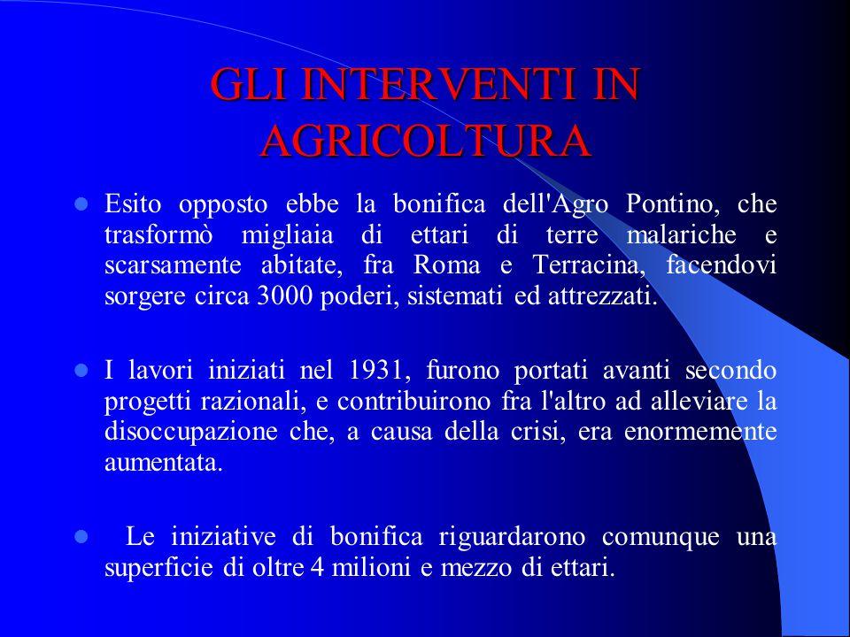 GLI INTERVENTI IN AGRICOLTURA