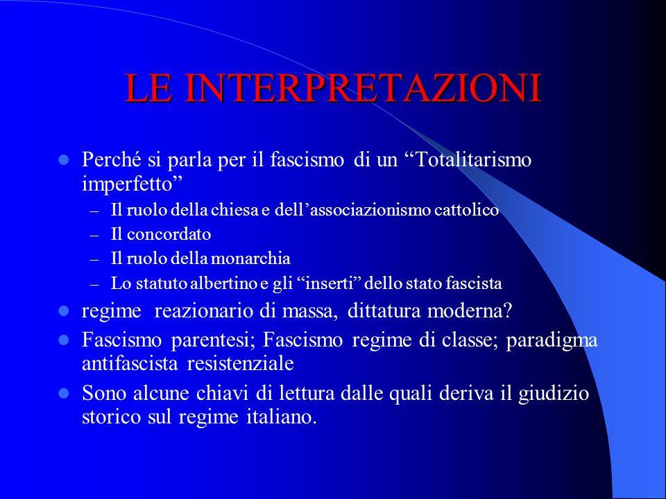 LE INTERPRETAZIONI Perché si parla per il fascismo di un Totalitarismo imperfetto Il ruolo della chiesa e dell'associazionismo cattolico.