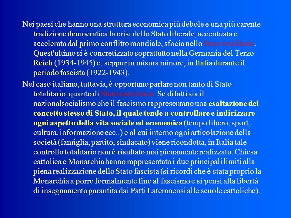 Nei paesi che hanno una struttura economica più debole e una più carente tradizione democratica la crisi dello Stato liberale, accentuata e accelerata dal primo conflitto mondiale, sfocia nello Stato totalitario. Quest ultimo si è concretizzato soprattutto nella Germania del Terzo Reich (1934‑1945) e, seppur in misura minore, in Italia durante il periodo fascista (1922‑1943).
