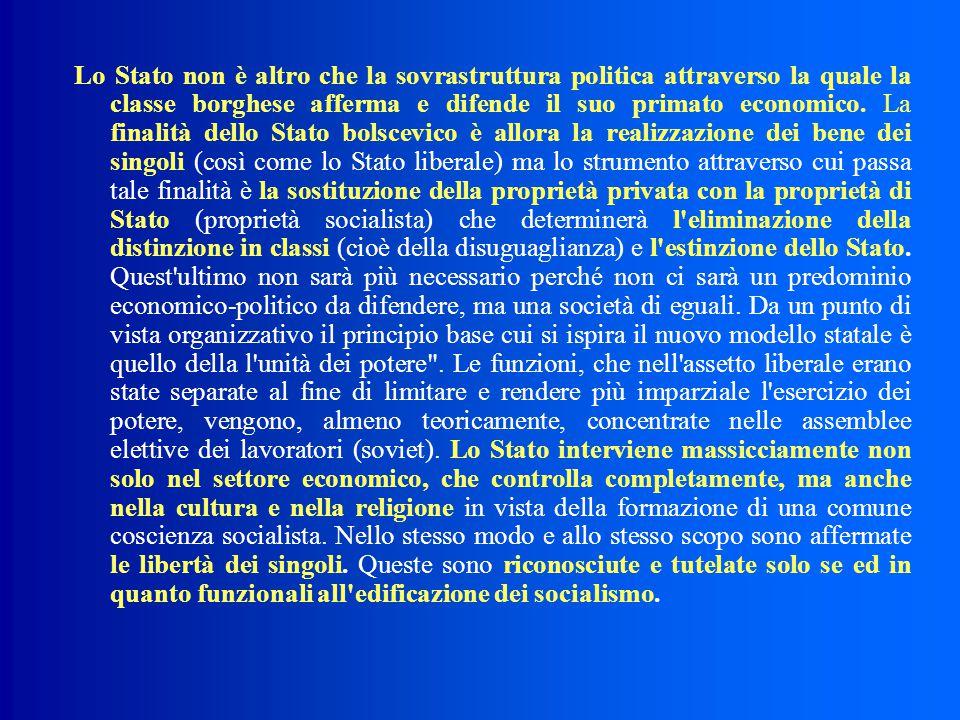 Lo Stato non è altro che la sovrastruttura politica attraverso la quale la classe borghese afferma e difende il suo primato economico.
