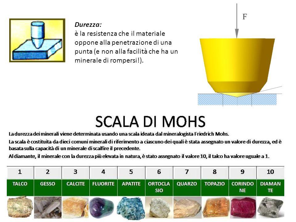 Durezza: è la resistenza che il materiale oppone alla penetrazione di una punta (e non alla facilità che ha un minerale di rompersi!).