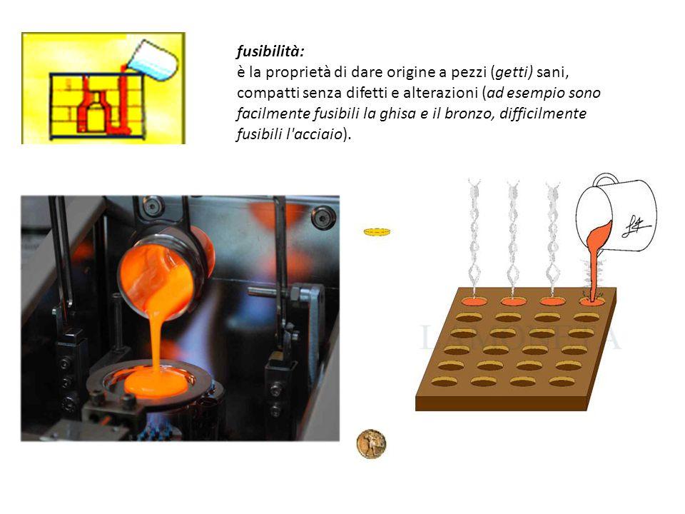 fusibilità: è la proprietà di dare origine a pezzi (getti) sani, compatti senza difetti e alterazioni (ad esempio sono facilmente fusibili la ghisa e il bronzo, difficilmente fusibili l acciaio).