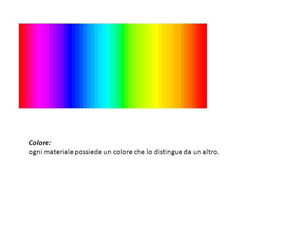 Colore: ogni materiale possiede un colore che lo distingue da un altro.