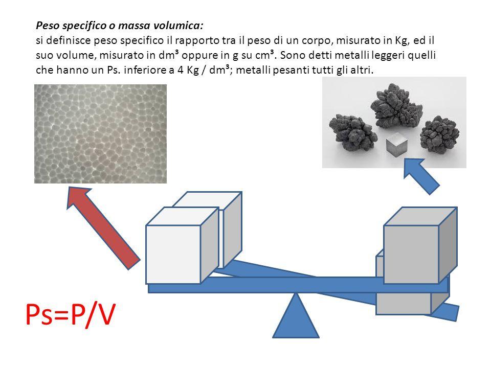 Peso specifico o massa volumica: si definisce peso specifico il rapporto tra il peso di un corpo, misurato in Kg, ed il suo volume, misurato in dm³ oppure in g su cm³. Sono detti metalli leggeri quelli che hanno un Ps. inferiore a 4 Kg / dm³; metalli pesanti tutti gli altri.
