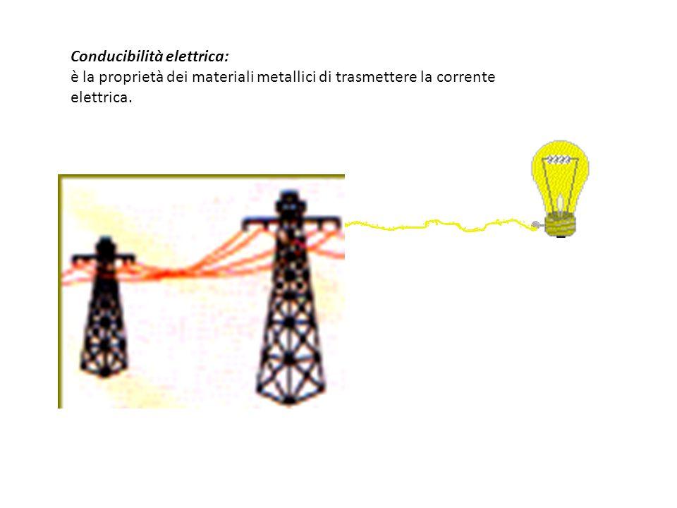 Conducibilità elettrica: è la proprietà dei materiali metallici di trasmettere la corrente elettrica.