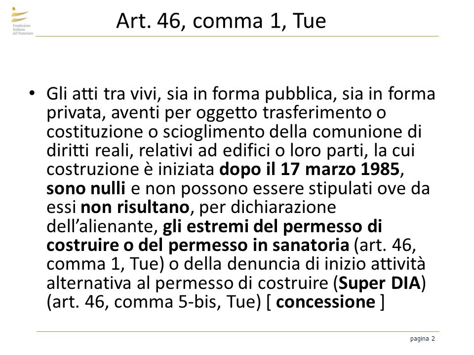 Art. 46, comma 1, Tue
