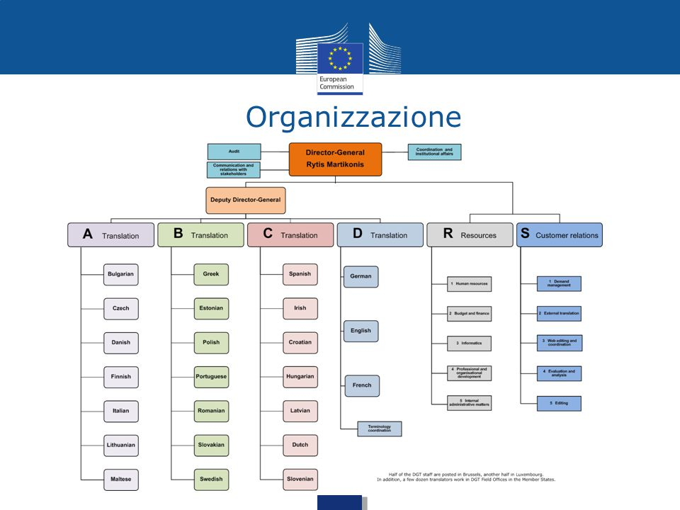 Organizzazione Organisation chart of the DGT