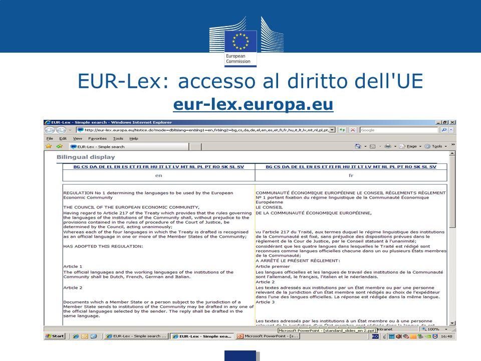 EUR-Lex: accesso al diritto dell UE