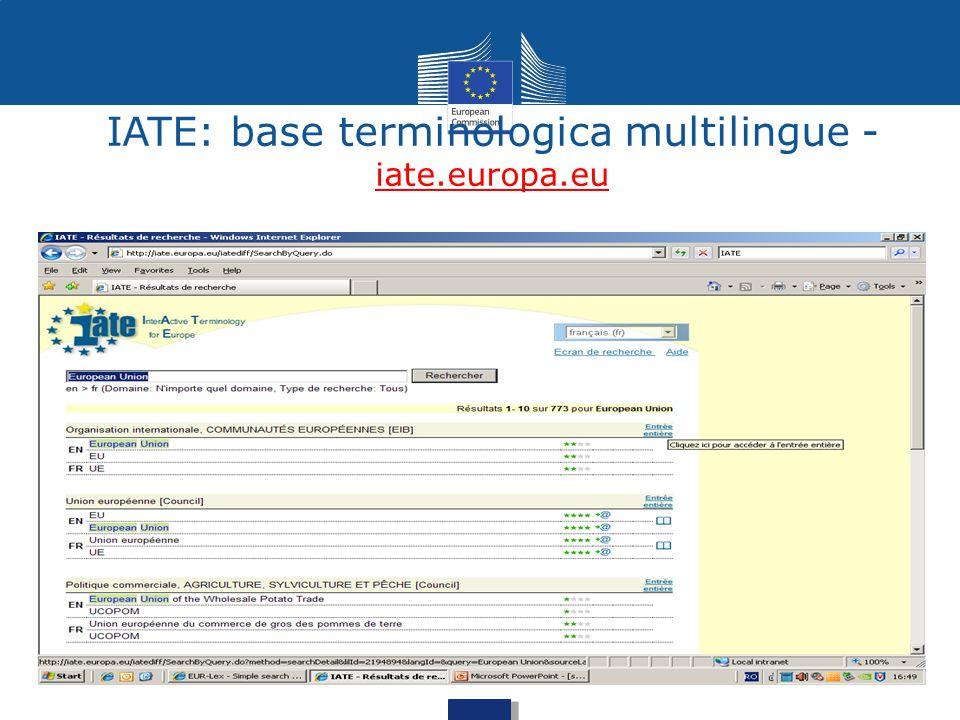 IATE: base terminologica multilingue - iate.europa.eu
