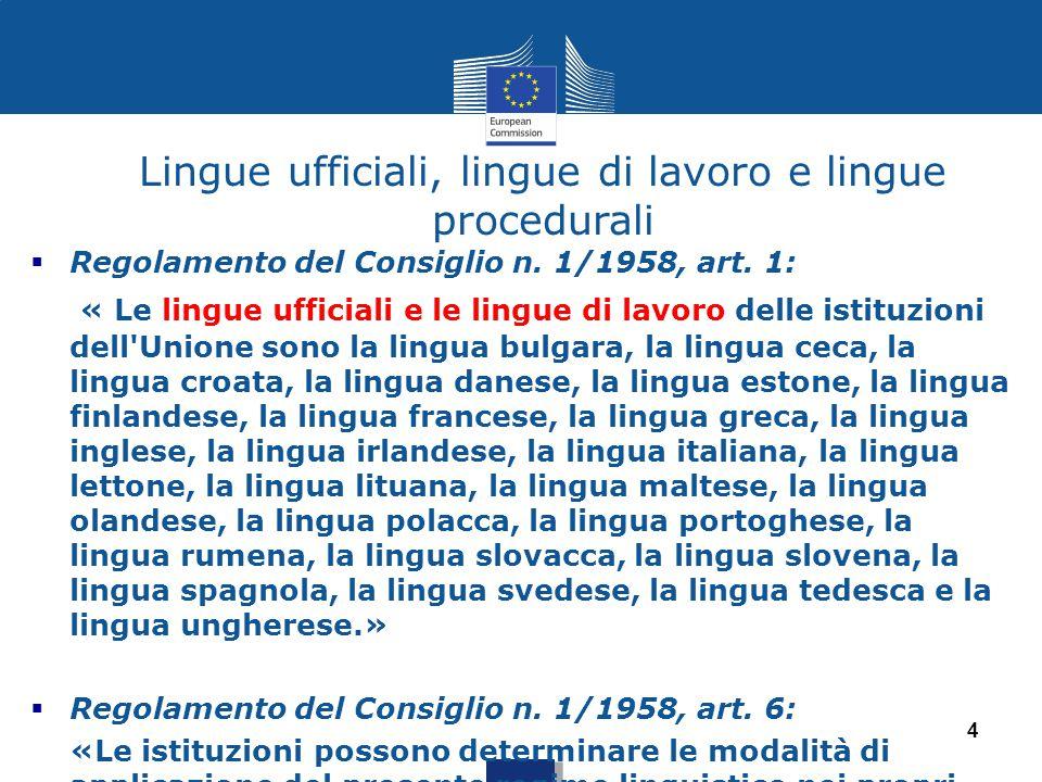 Lingue ufficiali, lingue di lavoro e lingue procedurali