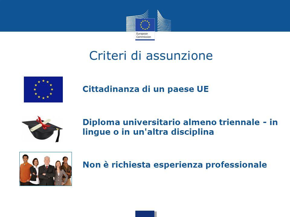 Criteri di assunzione Cittadinanza di un paese UE