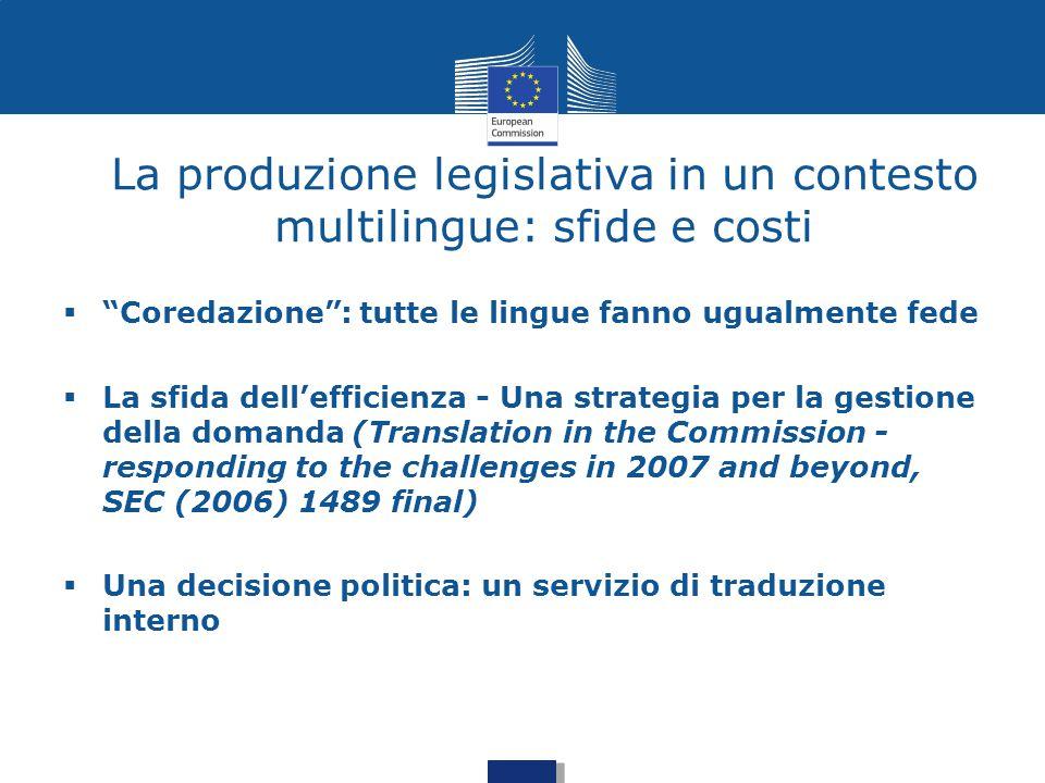 La produzione legislativa in un contesto multilingue: sfide e costi
