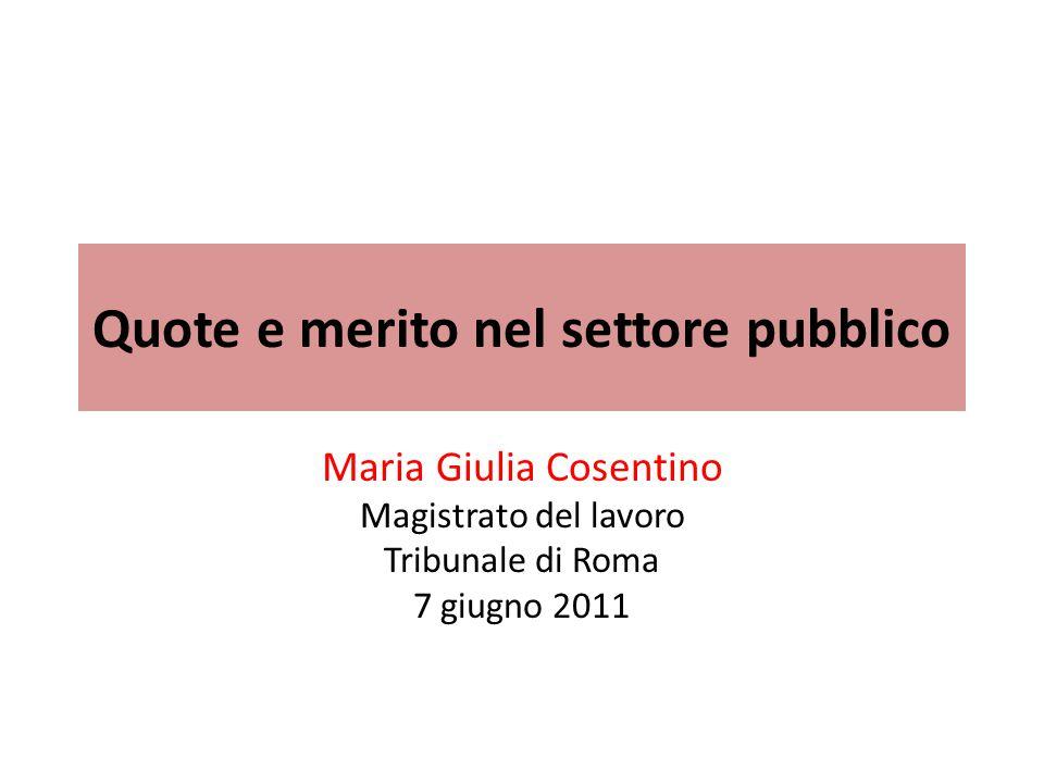 Quote e merito nel settore pubblico