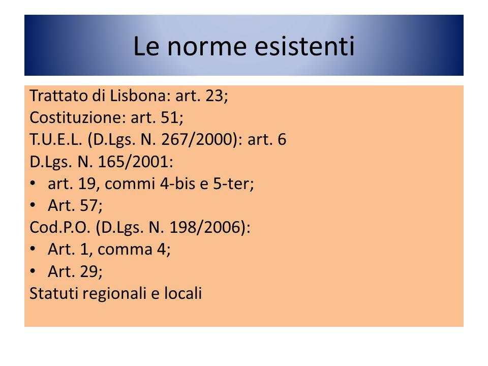Le norme esistenti Trattato di Lisbona: art. 23;