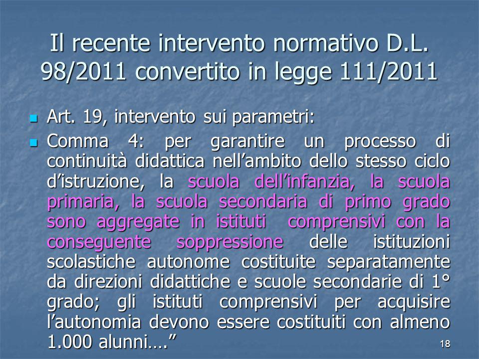 Il recente intervento normativo D. L