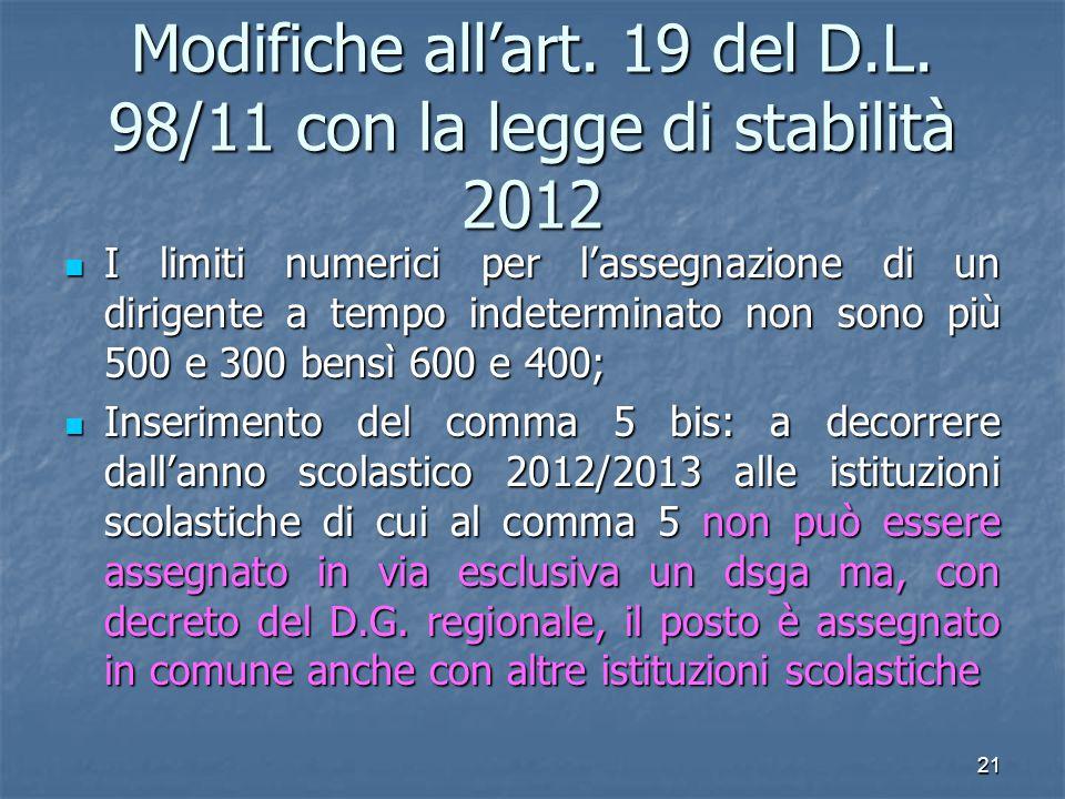 Modifiche all'art. 19 del D.L. 98/11 con la legge di stabilità 2012