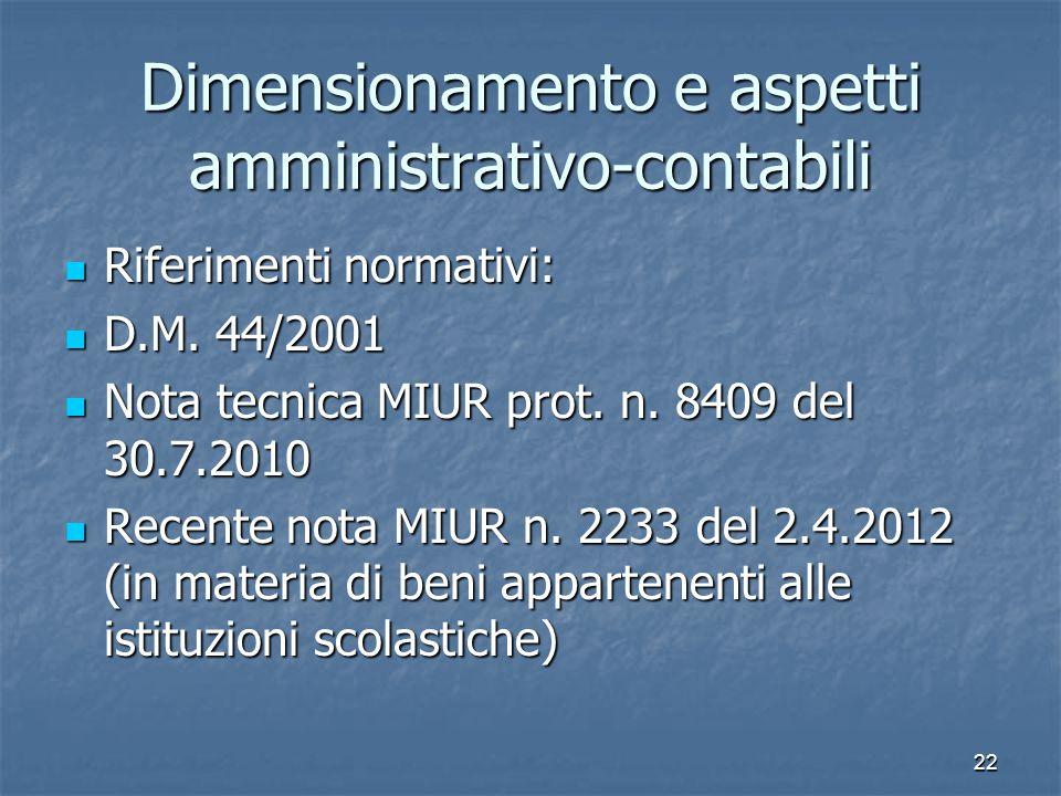Dimensionamento e aspetti amministrativo-contabili