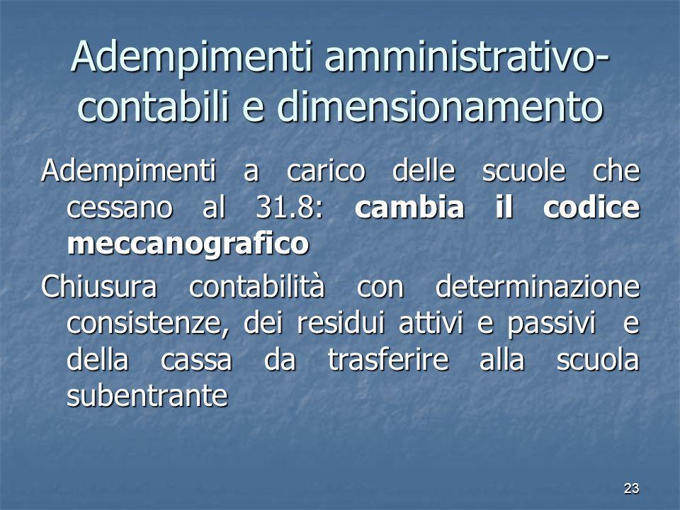 Adempimenti amministrativo-contabili e dimensionamento