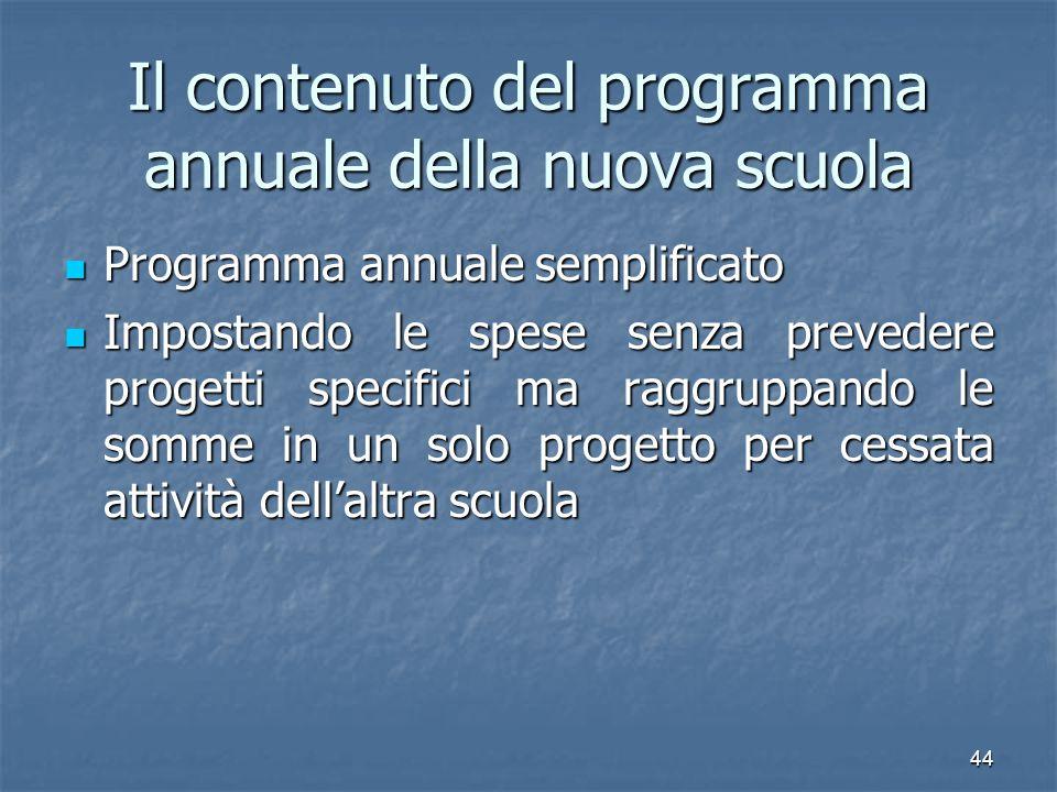 Il contenuto del programma annuale della nuova scuola
