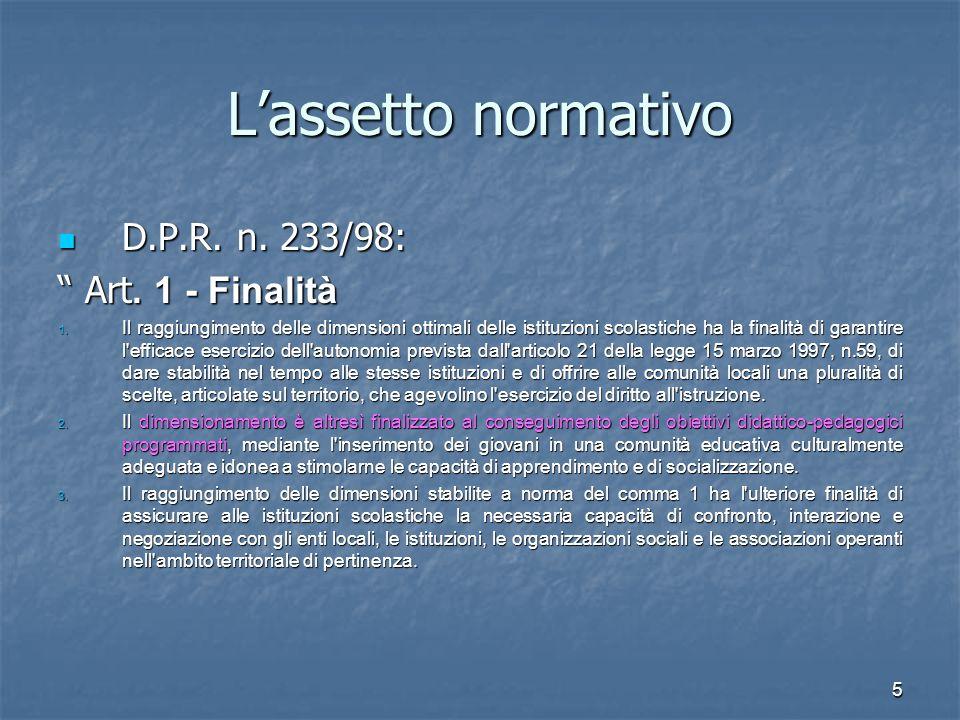 L'assetto normativo D.P.R. n. 233/98: Art. 1 - Finalità