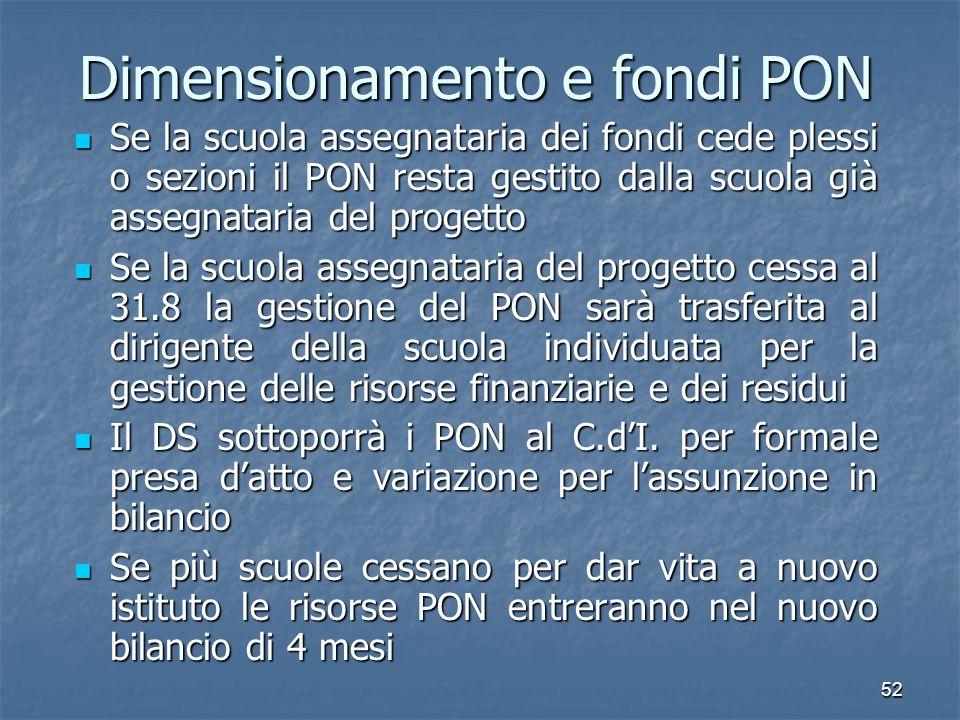 Dimensionamento e fondi PON