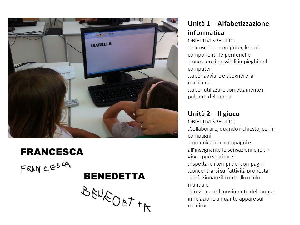 Unità 1 – Alfabetizzazione informatica OBIETTIVI SPECIFICI