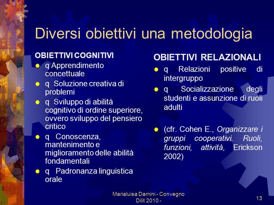 Diversi obiettivi una metodologia