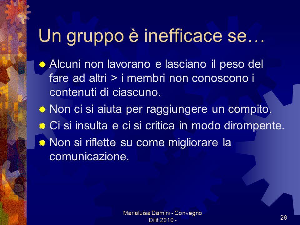 Un gruppo è inefficace se…