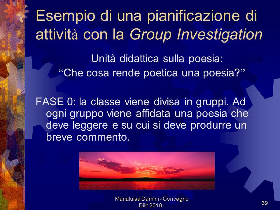 Esempio di una pianificazione di attività con la Group Investigation