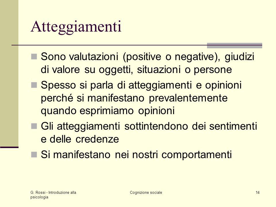 Atteggiamenti Sono valutazioni (positive o negative), giudizi di valore su oggetti, situazioni o persone.