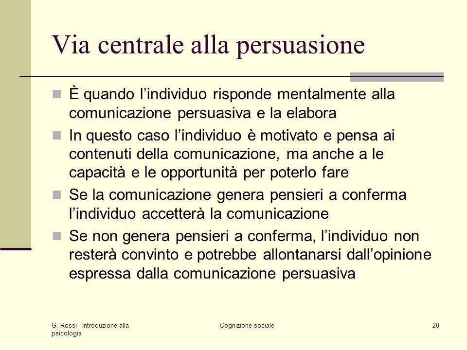 Via centrale alla persuasione