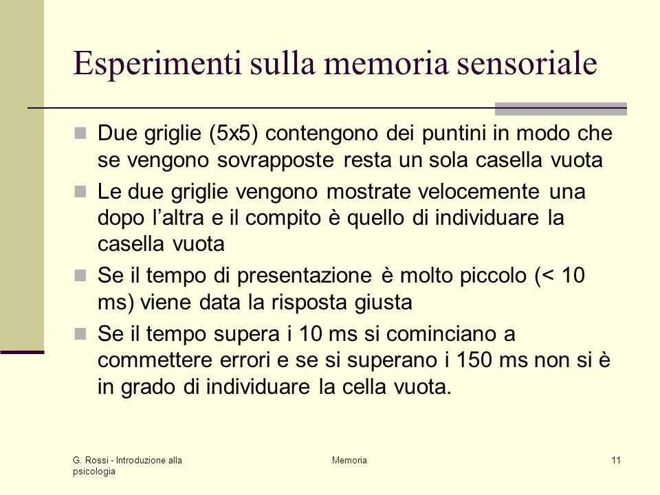 Esperimenti sulla memoria sensoriale