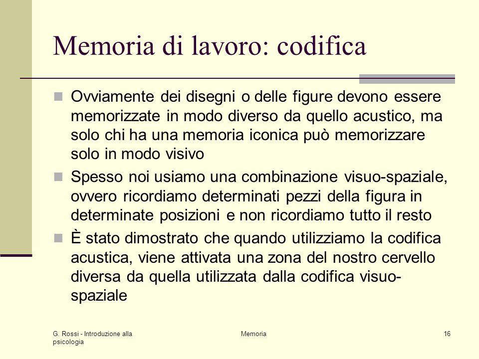 Memoria di lavoro: codifica