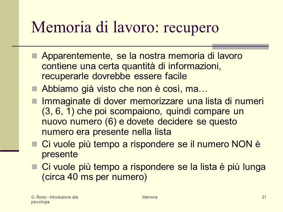 Memoria di lavoro: recupero