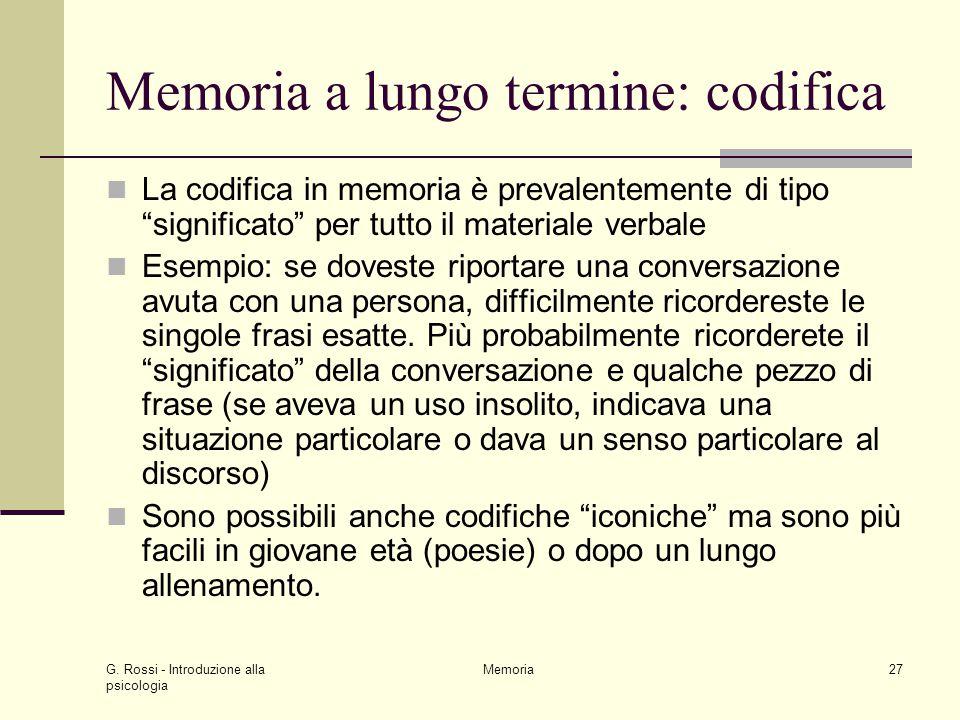 Memoria a lungo termine: codifica
