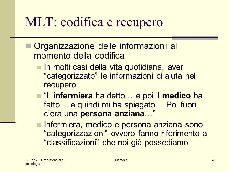 MLT: codifica e recupero